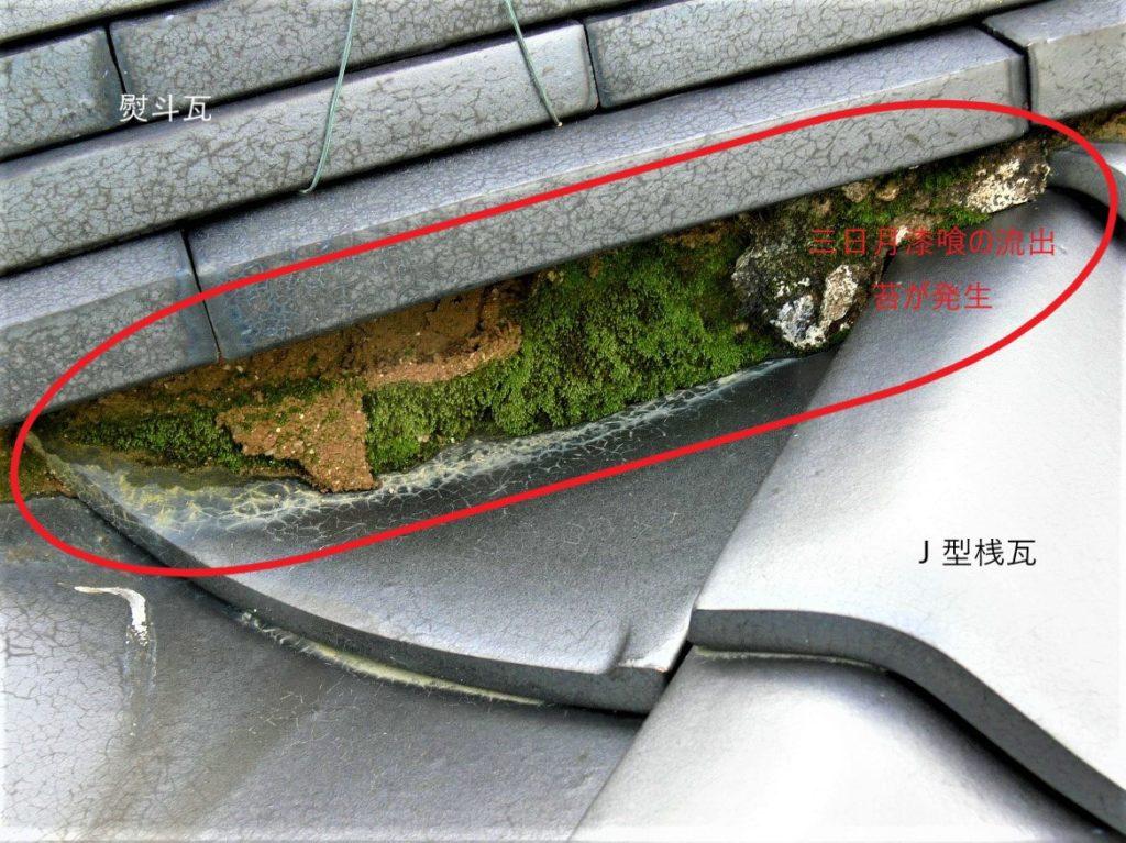 三日月漆喰に苔が発生(塗装工房)