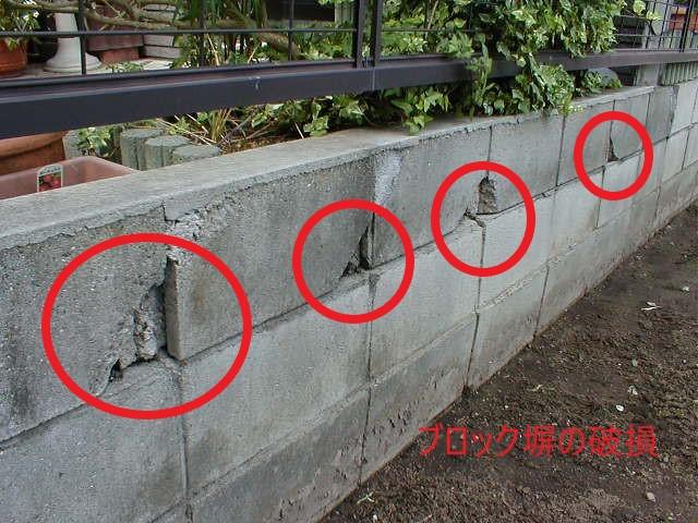 ブロック塀の破損(塗装工房)