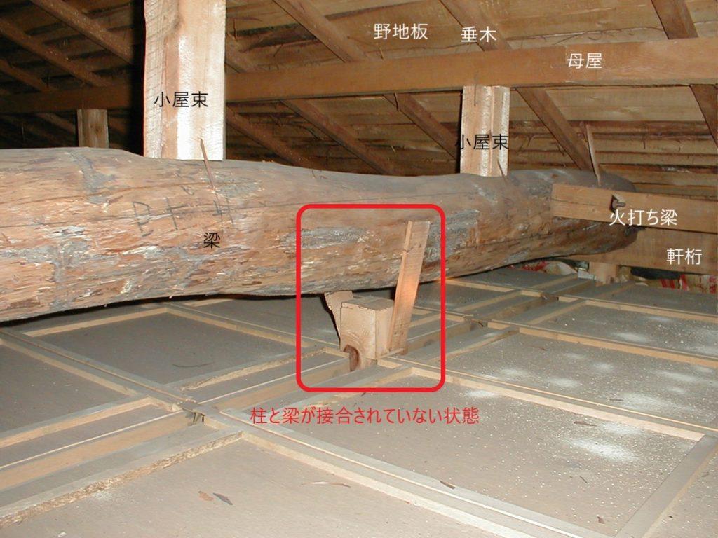 柱と梁の接合(塗装工房)