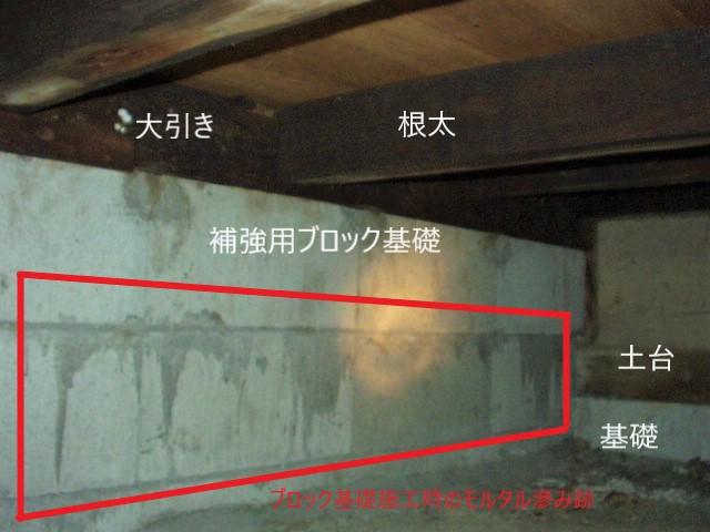ブロック基礎の滲み跡(塗装工房)
