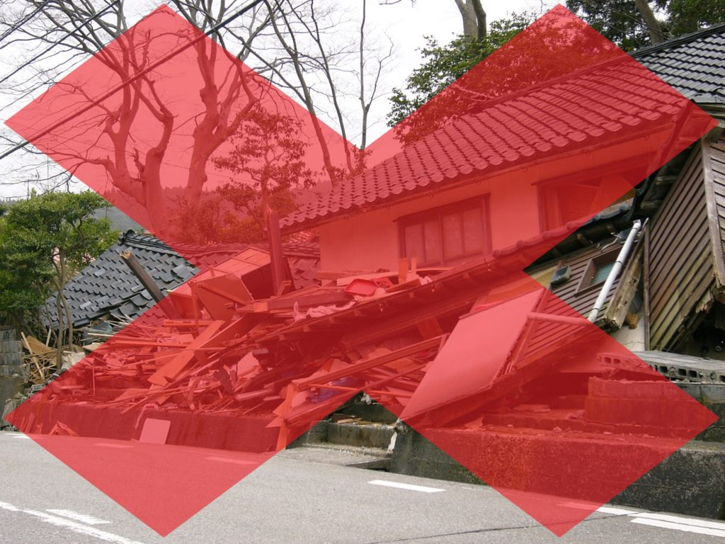 地震の被害(塗装工房)